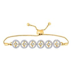 Diamond Joined Circles Bolo Bracelet 1/3 Cttw 10kt Yellow Gold