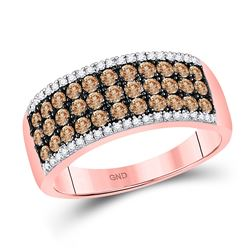 Round Brown Diamond Band Ring 1.00 Cttw 14kt Rose Gold