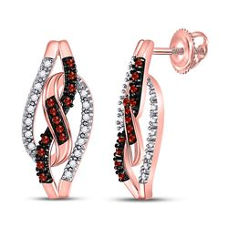 Round Red Color Enhanced Diamond Infinity Screwback Earrings 1/6 Cttw 10kt Rose Gold