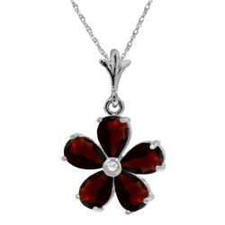 Genuine 2.22 ctw Garnet & Diamond Necklace 14KT White Gold - REF-30Z2N