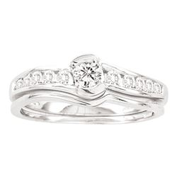 Diamond Bridal Wedding Engagement Ring Band Set 1/2 Cttw 14kt White Gold