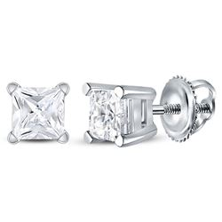 Unisex Diamond Solitaire Stud Earrings 7/8 Cttw 14kt White Gold