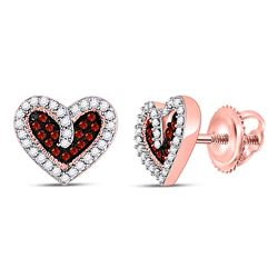 Round Red Color Enhanced Diamond Heart Stud Earrings 1/5 Cttw 10kt Rose Gold
