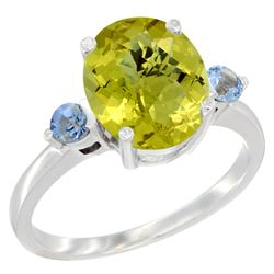 2.64 CTW Lemon Quartz & Blue Sapphire Ring 10K White Gold - REF-23M7A