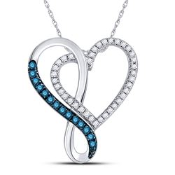 Round Blue Color Enhanced Diamond Heart Infinity Pendant 1/4 Cttw 10kt White Gold