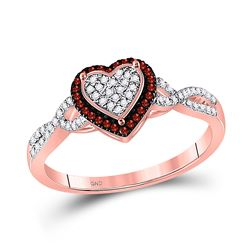 Round Red Color Enhanced Diamond Heart Frame Cluster Twist Ring 1/5 Cttw 10kt Rose Gold