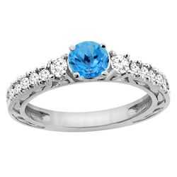 1.35 CTW Swiss Blue Topaz & Diamond Ring 14K White Gold - REF-79M5A