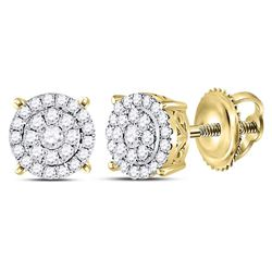Diamond Concentric Circle Cluster Earrings 1/3 Cttw 14kt Yellow Gold