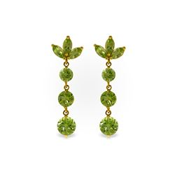 Genuine 8.7 ctw Peridot Earrings 14KT Yellow Gold - REF-53V6W