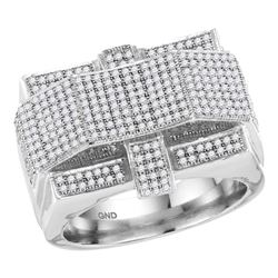 Mens Diamond Rectangle Arched Cluster Ring 1.00 Cttw 10kt White Gold