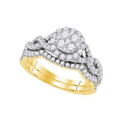 Diamond Cluster Bridal Wedding Engagement Ring Band Set 7/8 Cttw 14kt Yellow Gold