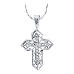 Diamond Cross Frame Religious Pendant 1/8 Cttw 10kt White Gold