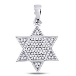 Mens Diamond Star Magen David Jewish Charm Pendant 1/5 Cttw 10kt White Gold