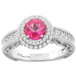 1.45 CTW Pink Topaz & Diamond Ring 14K White Gold - REF-86W6F