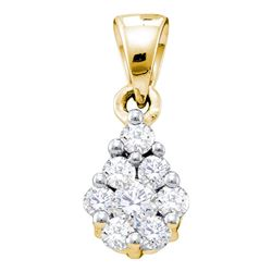 Diamond Flower Cluster Pendant 1/6 Cttw 10kt Yellow Gold