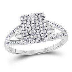 Diamond Cluster Split-shank Ring 1/5 Cttw 10kt White Gold