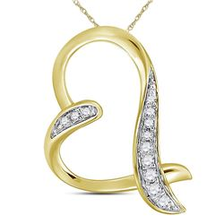 Diamond Heart Pendant 1/20 Cttw 10kt Yellow Gold