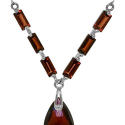 Genuine 4.35 ctw Garnet Necklace 14KT White Gold - REF-30M7T