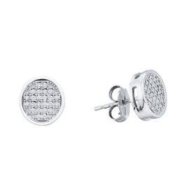 Diamond Circle Cluster Earrings 1/6 Cttw 10kt White Gold
