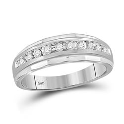 Mens Diamond Wedding Channel Set Scalloped Band Ring 1/4 Cttw 10kt White Gold