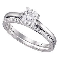 Diamond Halo Bridal Wedding Engagement Ring Band Set 1/4 Cttw 10kt White Gold