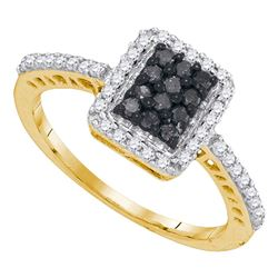 Round Black Color Enhanced Diamond Cluster Ring 1/2 Cttw 10kt Yellow Gold