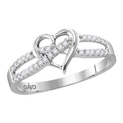 Diamond Woven Heart Ring 1/6 Cttw 10kt White Gold