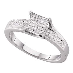 Diamond Elevated Square Cluster Ring 1/6 Cttw 10kt White Gold