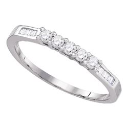 Diamond Wedding 5-Stone Anniversary Band 1/3 Cttw 14kt White Gold