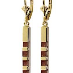 Genuine 0.70 ctw Garnet Earrings 14KT Yellow Gold - REF-55K2V