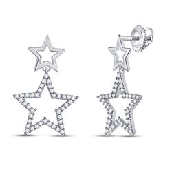 Diamond Double Star Dangle Screwback Earrings 1/4 Cttw 10kt White Gold