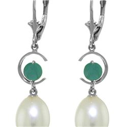 Genuine 9 ctw Pearl & Emerald Earrings 14KT White Gold - REF-39X4M