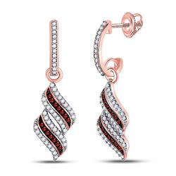 Round Red Color Enhanced Diamond Cascade Ribbon Dangle Earrings 1/3 Cttw 10kt Rose Gold