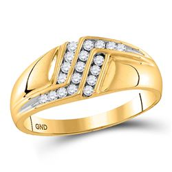 Mens Diamond Triple Row Polished Band Ring 1/4 Cttw 10kt Yellow Gold
