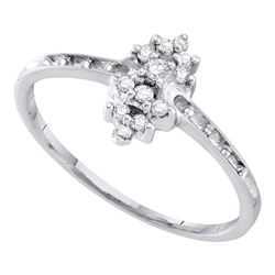 Round Orong-set Diamond Small Cluster Ring 1/8 Cttw 10kt White Gold