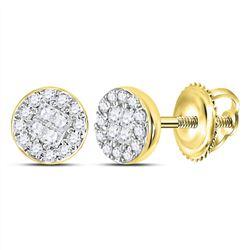 Diamond Cluster Earrings 1/6 Cttw 10kt Yellow Gold