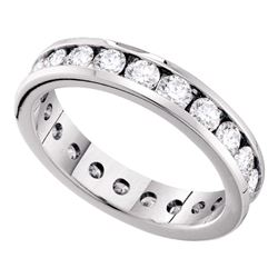 Round Channel-set Diamond Eternity Wedding Anniversary Band 2.00 Cttw 14kt White Gold