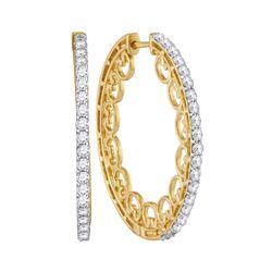 Diamond Single Row Luxury Hoop Earrings 1.00 Cttw 10kt Yellow Gold