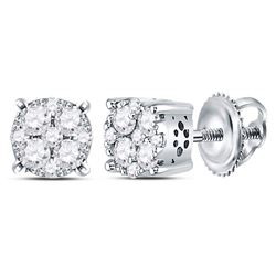 Diamond Cluster Earrings 1/2 Cttw 14kt White Gold