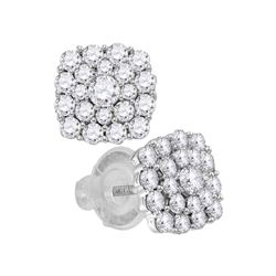 Diamond Cluster Earrings 1.00 Cttw 14kt White Gold