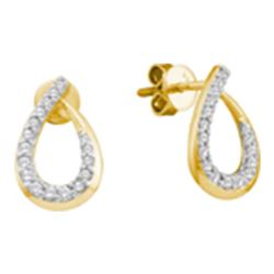 Diamond Teardrop Outline Screwback Stud Earrings 1/4 Cttw 14kt Yellow Gold