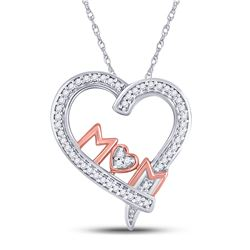 Diamond Mom Mother Heart Pendant 1/8 Cttw 10kt Two-tone Gold