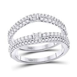 Baguette Diamond Wrap Ring Guard Enhancer 3/4 Cttw 14kt White Gold