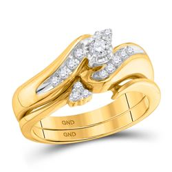 Diamond Bridal Wedding Engagement Ring Band Set 1/4 Cttw 10kt Yellow Gold