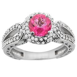 1.50 CTW Pink Topaz & Diamond Ring 14K White Gold - REF-86M9K