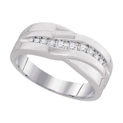 Mens Diamond Single Row Wedding Band Ring 1/4 Cttw 10kt White Gold