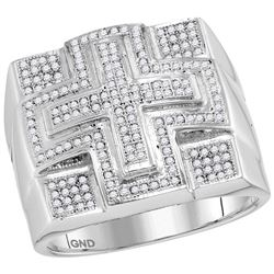 Mens Diamond Domed Cross Cluster Ring 1/2 Cttw 10kt White Gold