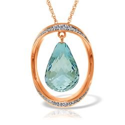 Genuine 11.60 ctw Blue Topaz & Diamond Necklace 14KT Rose Gold - REF-112A2K