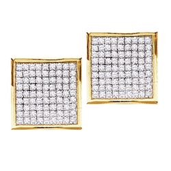 Round Pave-set Diamond Square Cluster Earrings 7/8 Cttw 10kt Yellow Gold