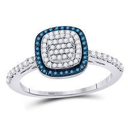 Blue Color Enhanced Diamond Square-shape Cluster Ring 3/8 Cttw 10k White Gold